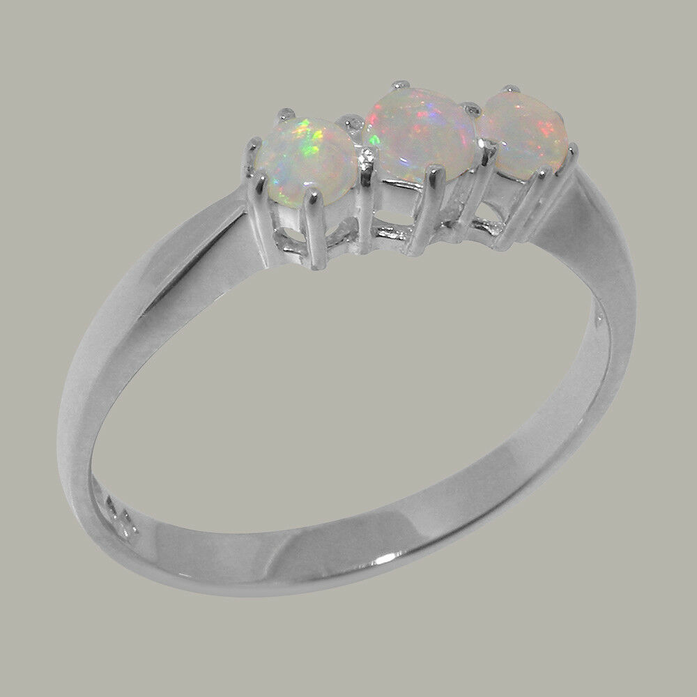 82f6e9575 14k White gold Natural Womens Trilogy Ring - Sizes 4 to 12 Opal Solid  nqrqqw8708-Gemstone