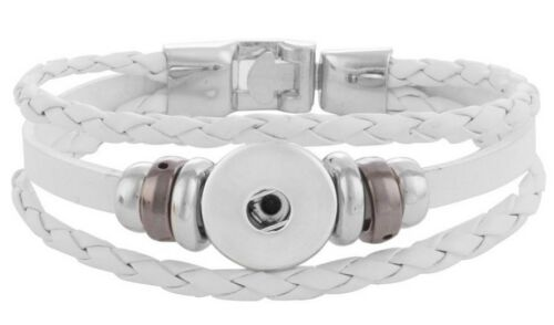 White Leather 18mm 20mm Interchangeable Snap Bracelet For Ginger Snaps Jewelry