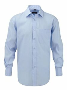 Russell-Collection-Mens-Blue-Work-Shirt-Long-Sleeve-Formal-Office-Medium-XL-XXL