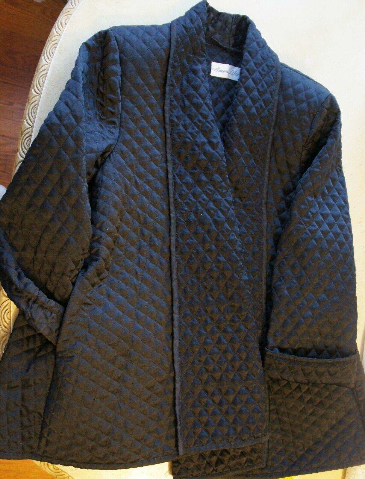 Auth Amen Wardy Black Quilted Open Jacket Sz M - image 5