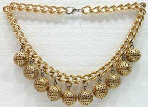 BIGIOTTERIA-Collana-Girocollo-con-perle-in-metallo-dorato-traforato-Vintage