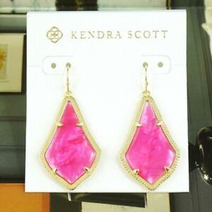 Nwot Kendra Scott Alex Azalea Illusion Pink Berry Pearl Earrings Gold Tone Ebay