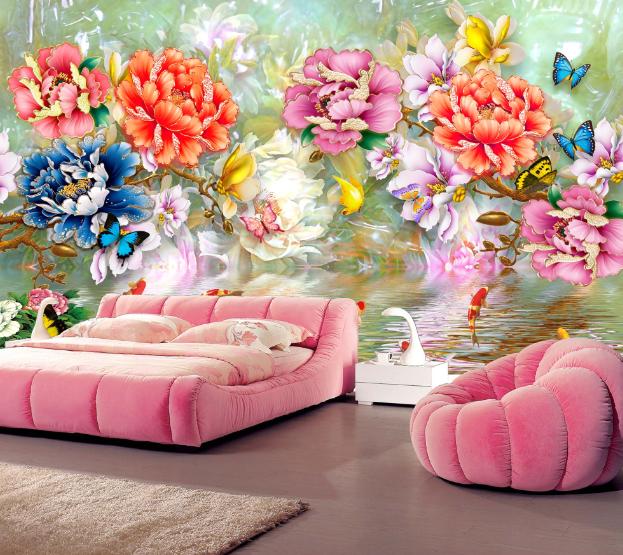 3D Farbe Peony Flowers 01 Wall Paper Wall Print Decal Wall AJ WALLPAPER CA