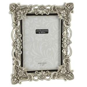 Antique-Silver-Ornate-Floral-Resin-Photo-Frame-with-Crystals-5-034-x-7-034