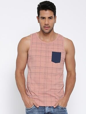 Cult Fiction men's Light Pink Round Neck Cotton T-Shirt (CFM10LPN938)