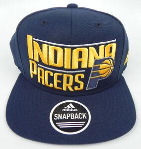 INDIANA-PACERS-NBA-VINTAGE-FLAT-BILL-SNAPBACK-ADIDAS-CAP-HAT-NEW-SOLID-NAVY