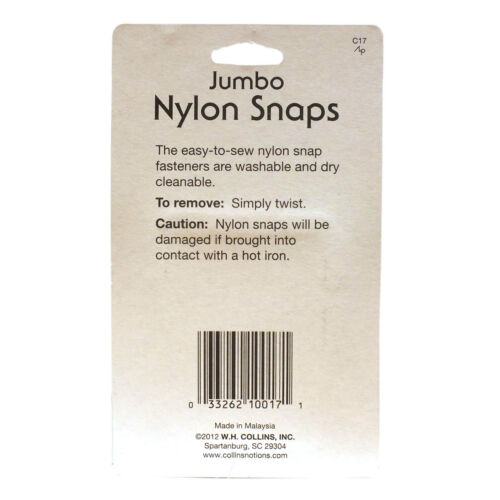 Collins6 Jumbo Nylon Snaps Washable Drycleanable Semi-Transparent Ease to Sew