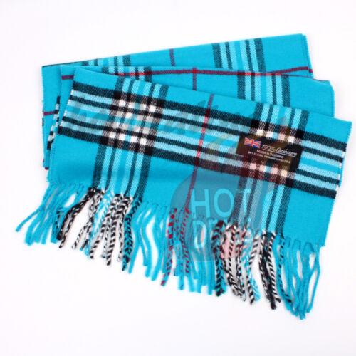 Women unisex 100/% CASHMERE Tartan Stripe Plaid Wool Sky Blue Wrap Scarf