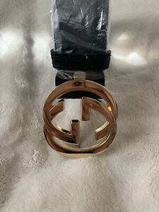921d2e97ba2 UNISEX BLACK GUCCI BELT (ONE SIZE) 110CM GOLD DOUBLE G BUCKLE BRAND ...