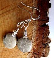 Petoskey Fossil Gem Stone 925 Silver Kirsten Earrings Usa Handmade W/ Gift Bag