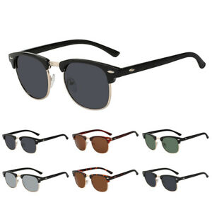 Half Frame Semi-Rimless Polarized Sunglasses Mens Women Retro Vintage Glasses UK