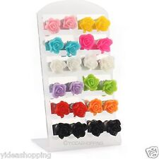 12 pairs Multicolor Resin rose flower Pattern Stud Earrings Ear Ring+Display Pad