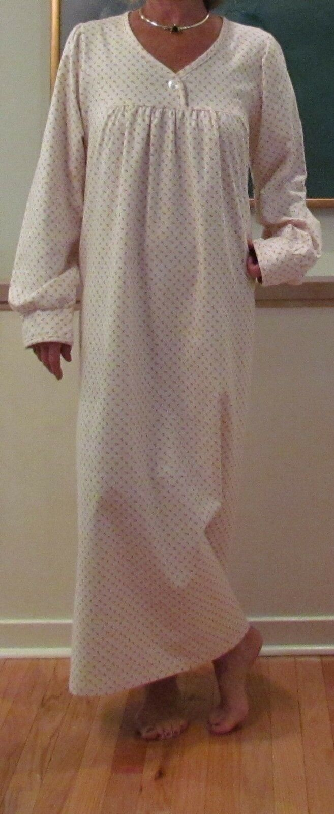 Nightgown Long Flannel Ladies   Pretty and Cozy   M – 3XL