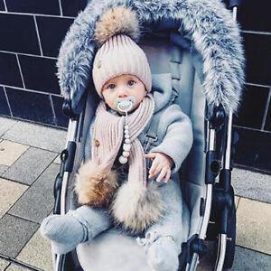 6f29ec9d935 2PCS Newborn Baby Boy Girls Winter Warm Pom Bobble Knit Beanie Hat+ ...