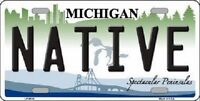 Native Michigan Metal Novelty License Plate