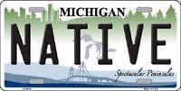 Native Michigan Metal Novelty License Plate