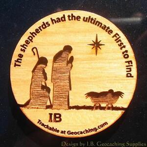 Christmas-Shepherds-TRACKABLE-Geocaching-Wooden-Nickel
