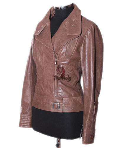Short sr4110 Cowhide Leather Jacket Real Tara Vintage Style Biker Brown Ladies nqx41CYwt