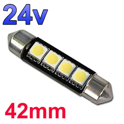 10 X Blanco 24v 42mm Luz de Placa Interior Festoon 264 4 SMD C10W Bombillas ambiente Camión