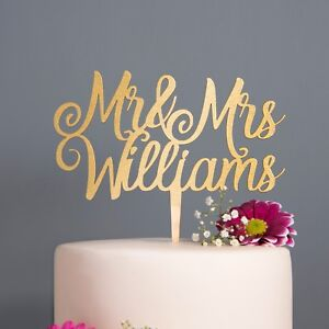 Details About Personalised Calligraphy Mr Mrs Wedding Cake Topper Wooden Silver Rose Gold