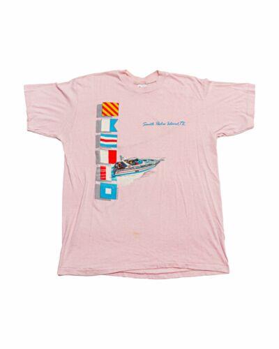Vintage 80s South Padre Island Texas Beach Beachwear Medium Tan Nude Super Soft Thin 5050 Tshirt