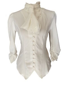 White-Ivory-Gothic-Victorian-Steampunk-Ruffle-Vamp-Renaissance-Pirate-Blouse-Top