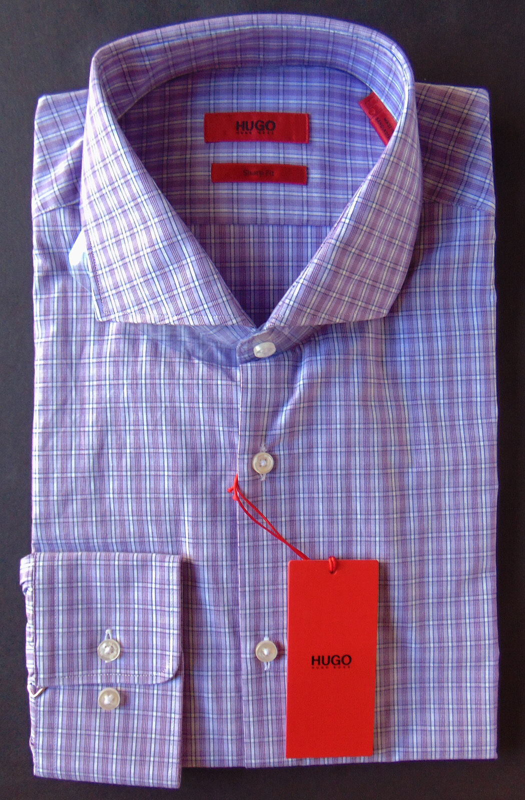 Men's HUGO BOSS Red Label Lavender Plaid Dress Shirt 15 1 2 32 33 Sharp Fit NWT