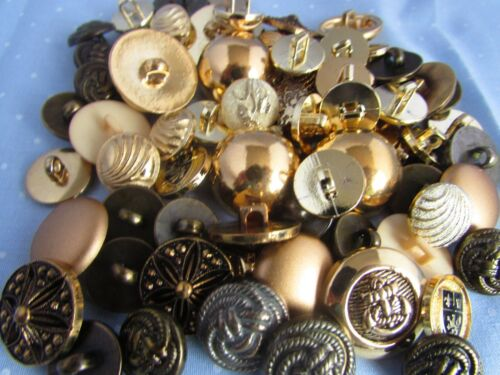 50 or 100 Gold Button Assortment Mixed Gold Colour Buttons in Packs of 10 20