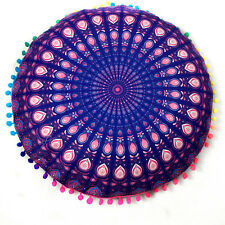 Retro Mandala Floor Pillow Cover Round Bohemian Pom Throw Sofa Mat Cushion Case