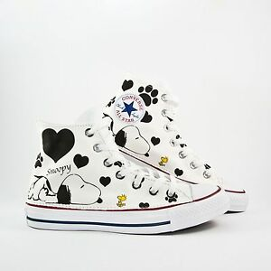converse all star bianca con snoopy
