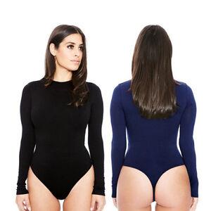 80cb5de4de Image is loading Women-Long-Sleeve-Shirt-Jumpsuit-Bodysuit-Stretch-Leotard-