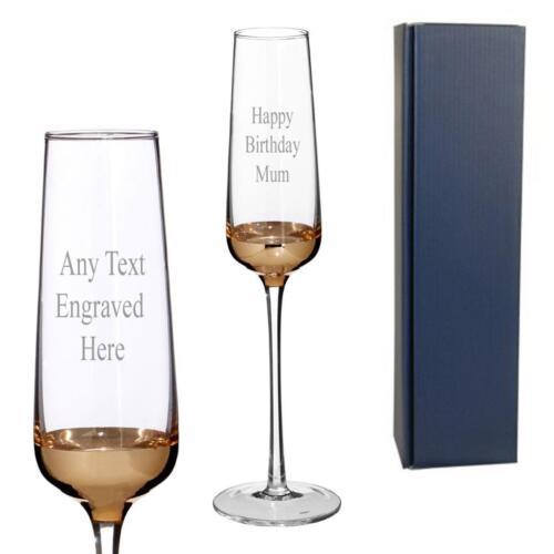 Gold Rim personnalisé gravé Champagne Prosecco Glass avec boîte 1405289