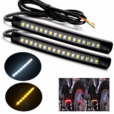 2x Bendable 2835 SMD Red Amber 17 LED Strip Lights Tail Turn Signal Brake Lamp