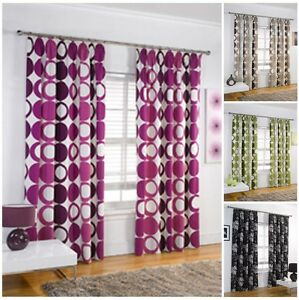 Image Is Loading Fully Lined Floral Or Circle Contemporary Print Curtains