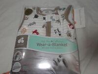 Just Born Cotton Wear-a-blanket Animals 6-12 Months Medium Taupe/white