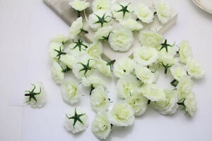 50pcs white artificial rose silk flower heads bulk wedding party image is loading 50pcs white artificial rose silk flower heads bulk mightylinksfo
