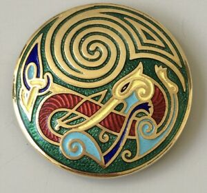 Vintage-abstract-Brooch-Pin-enamel-on-gold-tone-metal