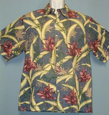Reyn Spooner Tropical Flowers & Leaves Hawaiian Aloha Shirt 100% Cotton Men's L