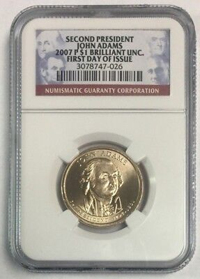 2007 P /& D First Day Issue UNC John Adams Presidential Dollar NGC