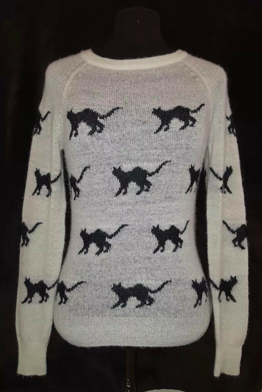 Wildfox White Label Sweater Top Xs Cats