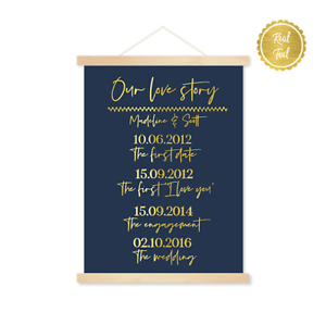 Wedding signs // Our Love Story // Gold and Navy // custom wedding // love print