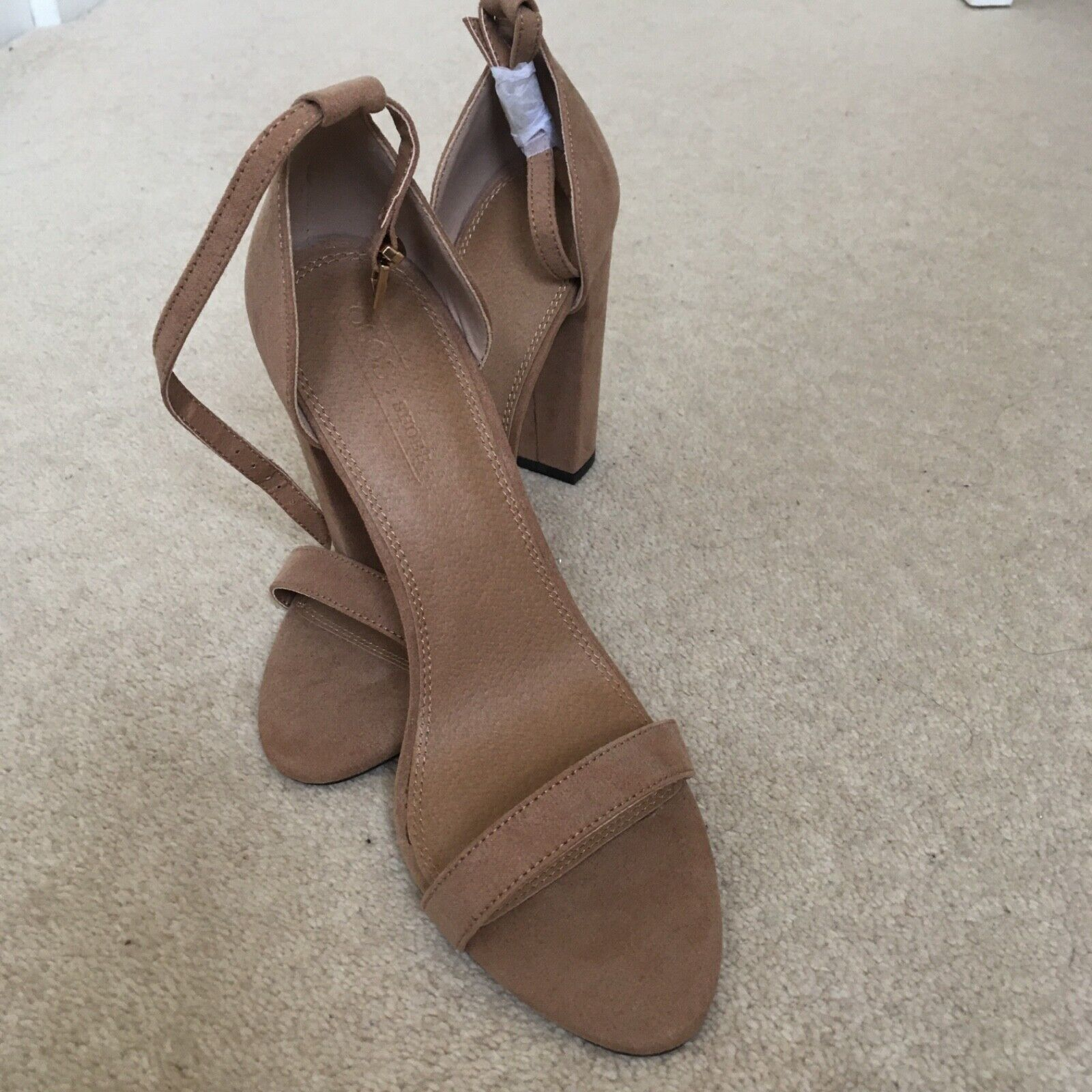 ASOS Ladies Highball Barely There Heeled Sandals size UK 5.5 Faux Suede