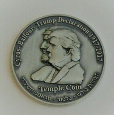 King Cyrus Donald Trump Coin Gold Plated Jewish Temple Jerusalem Israel ////bw