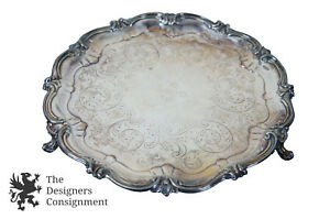 Antique-Silverplate-Round-Platter-Footed-Tray-Serving-Scalloped-Phoenix-Floral
