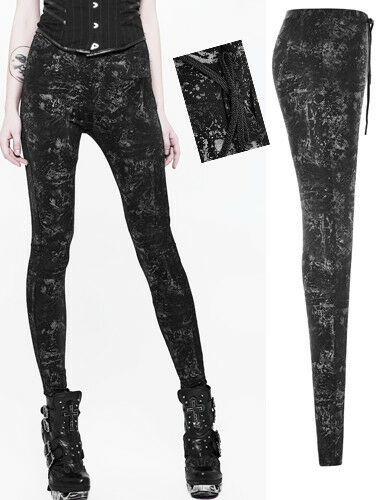 Hose Leggings Gothic Punk Lolita Mode Burlesk silver Muster Band Dark PunkRave