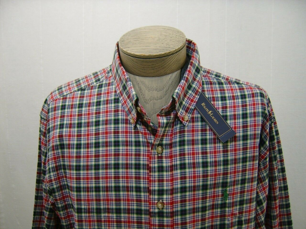 2XLT Tall Polo Ralph Lauren Mens Pony Shirt Red Navy Green Button Down Up Madras