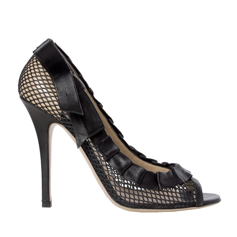 41228 auth VALENTINO black messiah & pleated leather Peep-Toe Pumps shoes 38