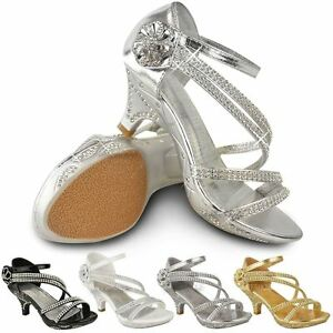 Details about New Girls Kids Low Heel Wedding Diamante Sandals Bridesmaid Party Shoes UK Size