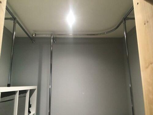 25mm Pipe Clothes Garment Rail Walk In Wardrobe Chrome Tube Hanging Storage Rack