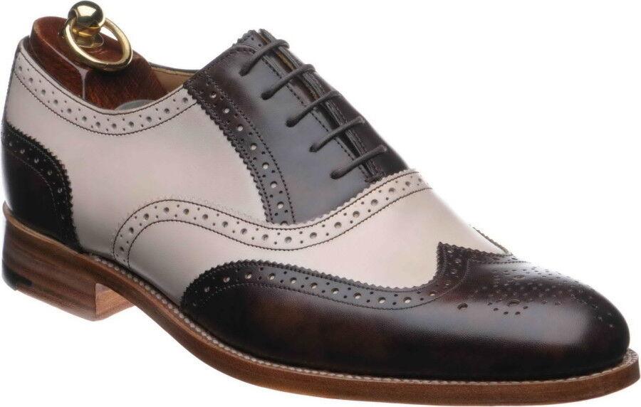 alla moda Handmade Handmade Handmade nero & bianca Leather Correspondent Wingtips for Uomo two tone Uomo scarpe  vendita online